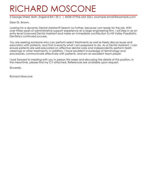 Cover Letter Examples For Dental Assistant With No Experience