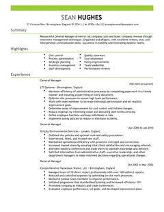 General Manager CV Example For Management LiveCareer
