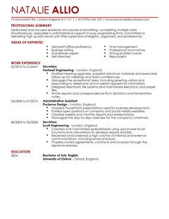 Secretary Admin Assistant CV Example For Admin LiveCareer