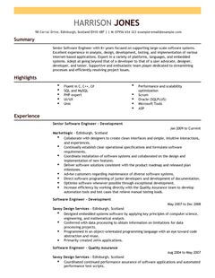 Software Engineer CV Example For Engineering LiveCareer