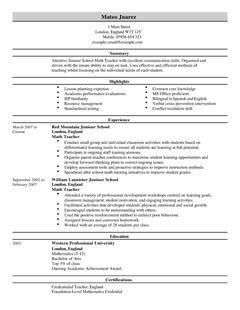Teacher CV Example For Education LiveCareer