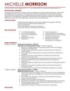 Ultrasound Technician CV Example For Healthcare LiveCareer