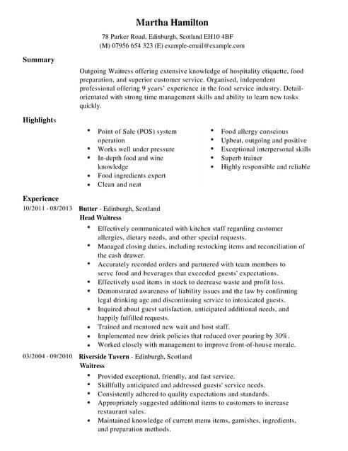 waitress cv example for restaurant bar livecareer - Resume For Waitress Skills
