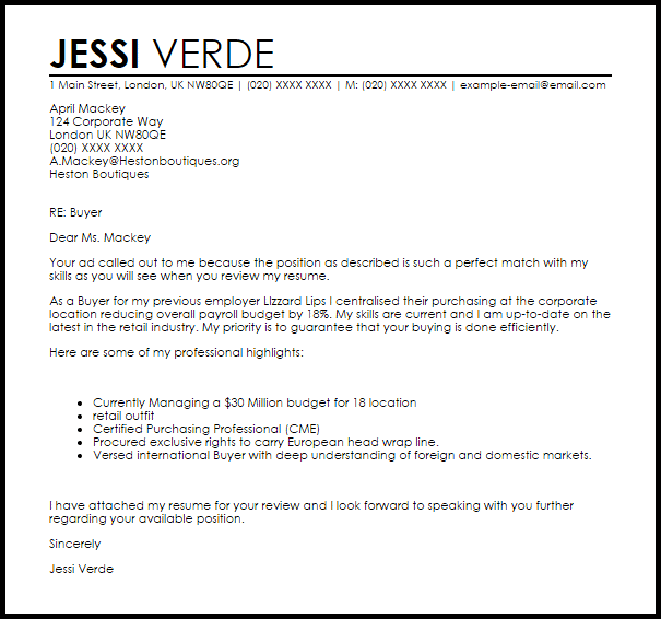 Cover Letter Example Retail Buyer | Create professional ...