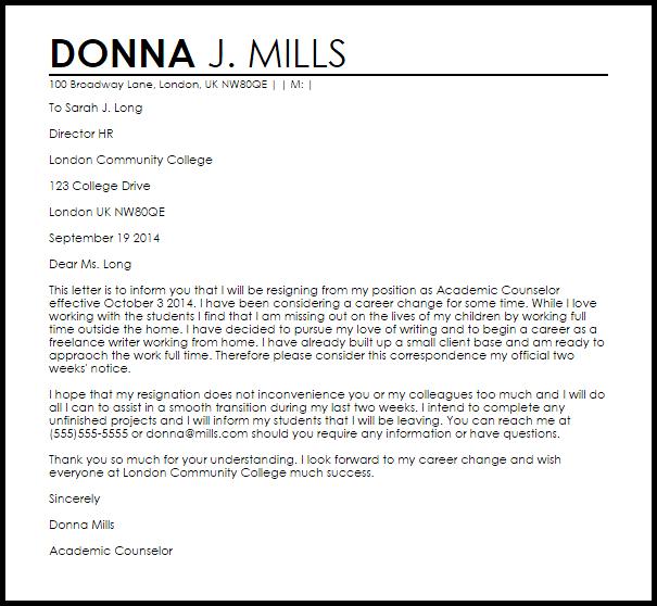 Resignation Letter Job Change | Free Document Resume Samples