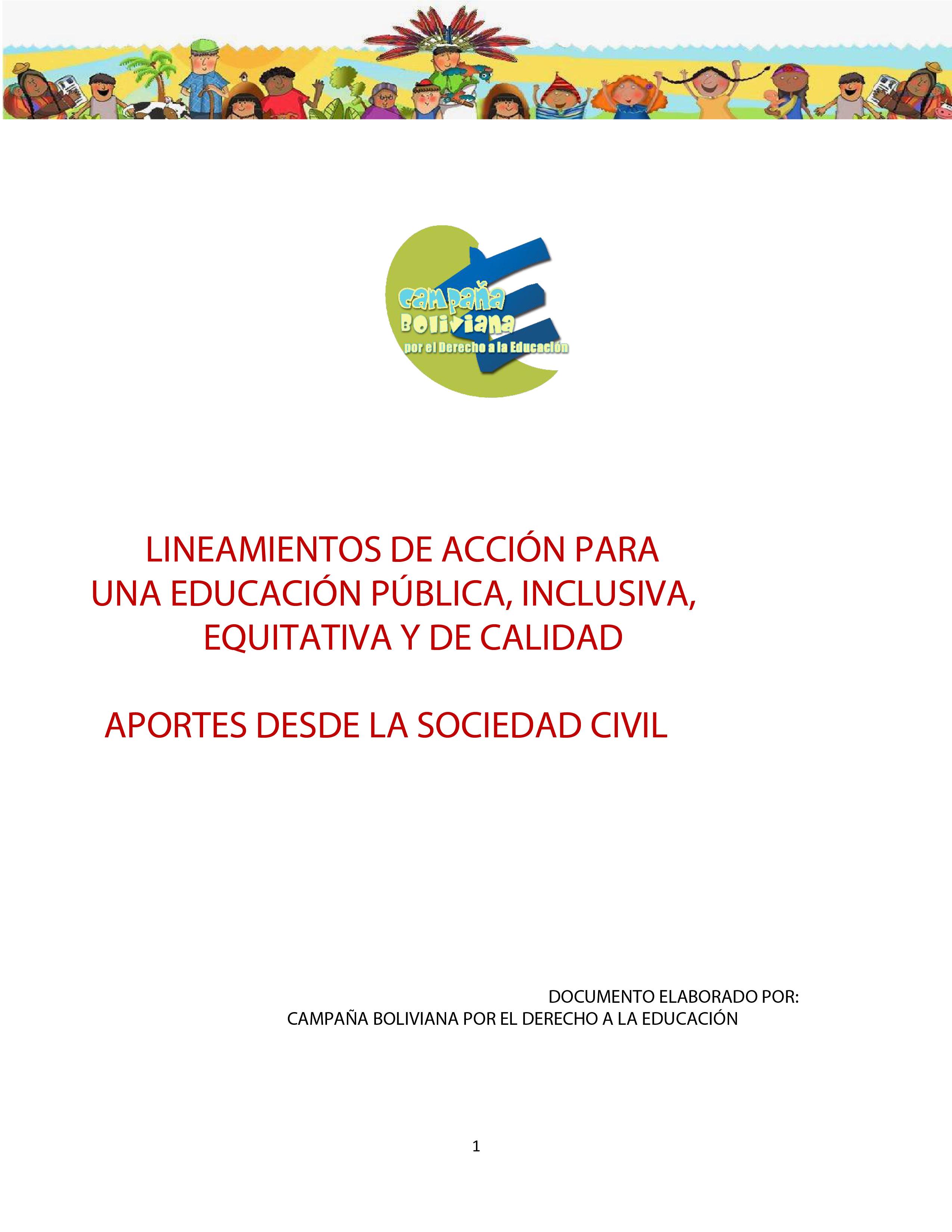 Lineamientos de Acción para una educación pública, inclusiva, equitativa y de calidad aportes desde la Sociedad Civil