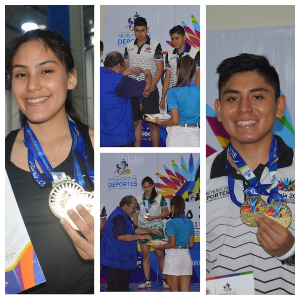 Diego García y Micaela Meneses mundialistas en raquetbol ganaron oro en los Pluris 2018