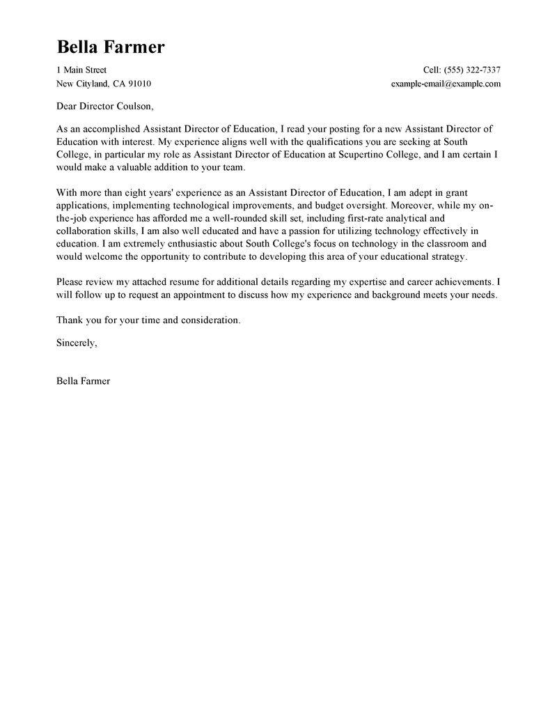 Secondary School Teacher Cover Letter Sample