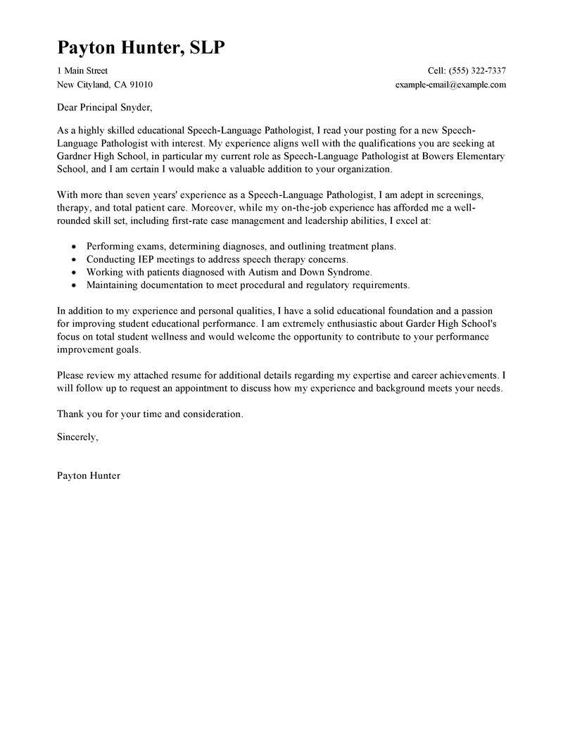 Leading Professional Speech Language Pathologist Cover Letter ...