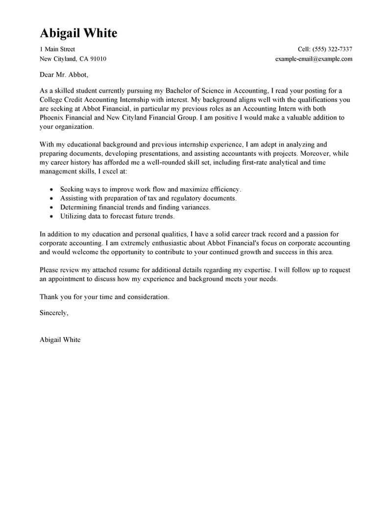 sample student cover letter for internship