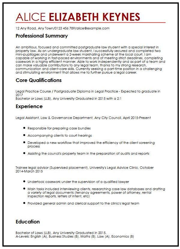 Sample Law Graduate Resume Resume Ideas