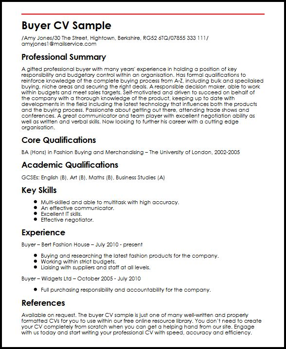 Buyer CV Sample MyperfectCV