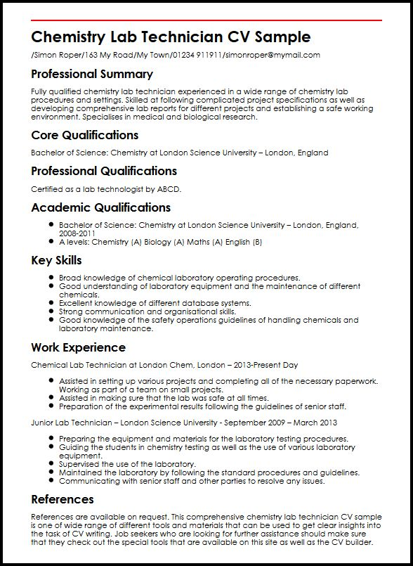 Chemistry Lab Technician CV Sample MyperfectCV