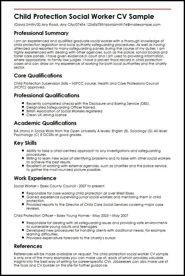 Child Protection Social Worker CV Sample MyperfectCV  Msw Resume Sample