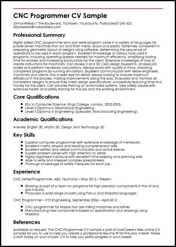 CNC Programmer CV Sample MyperfectCV
