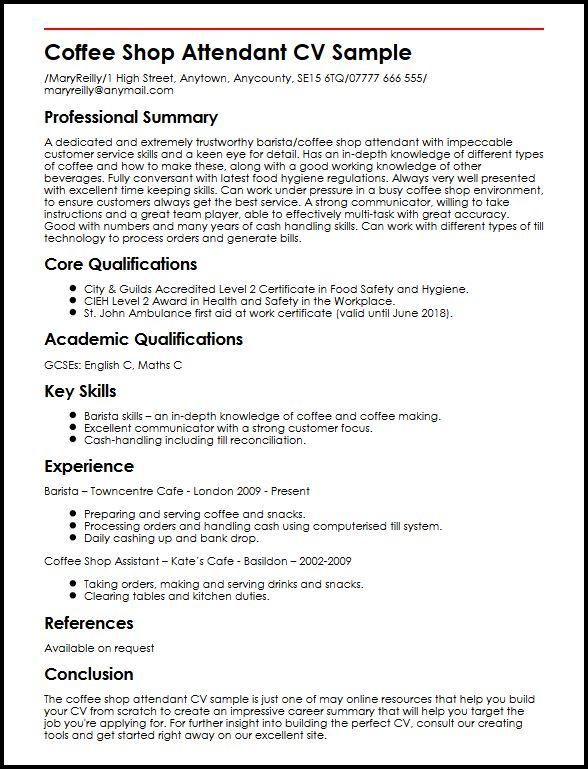 Barista Resume Example Barista Resume Samples Visualcv Resume