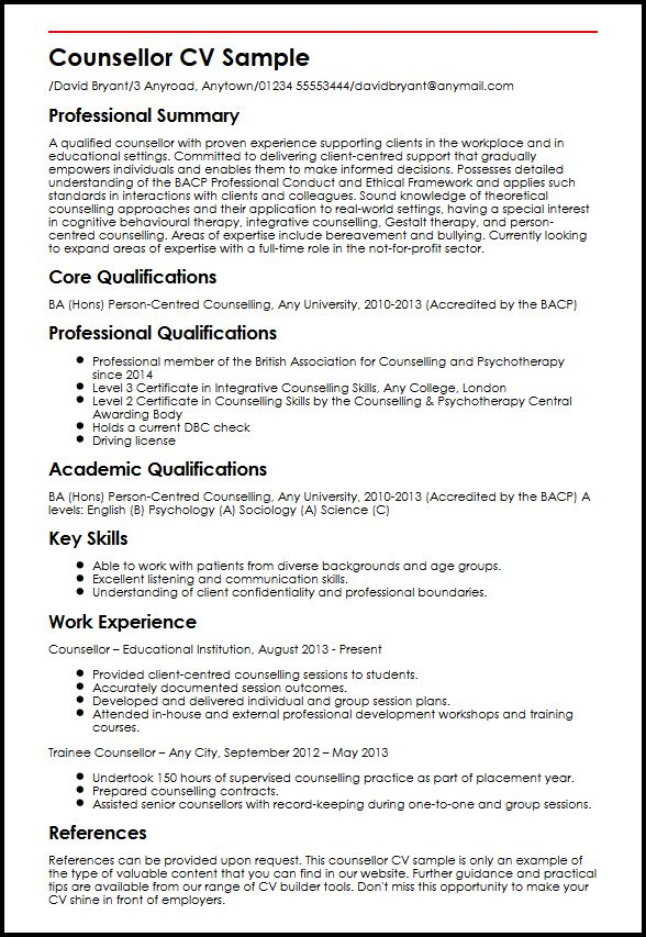 Counsellor CV Sample   MyperfectCV