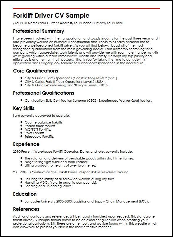 Forklift Driver Cv Sample MyperfectcvSample Cv General Resume