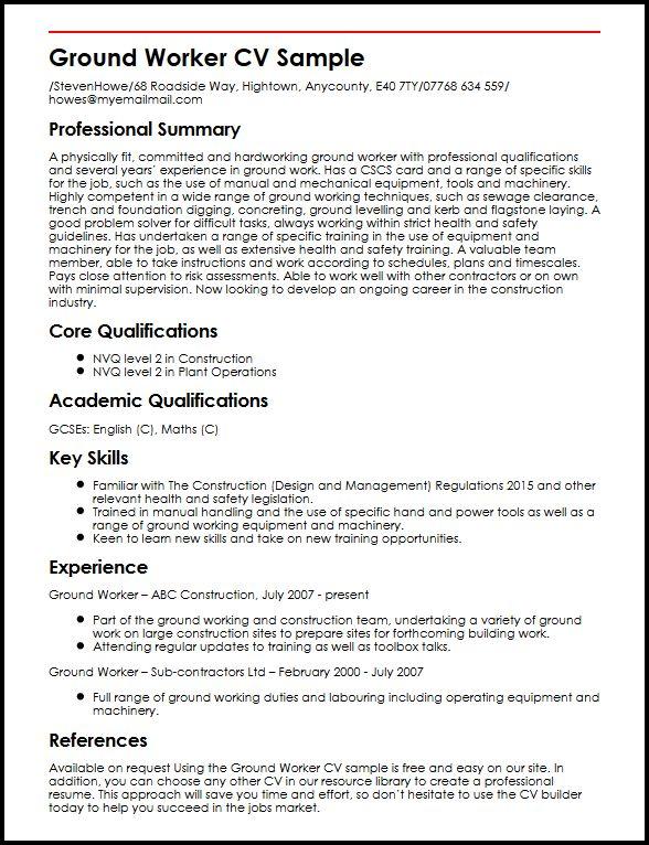 Ground Worker CV Sample MyperfectCV