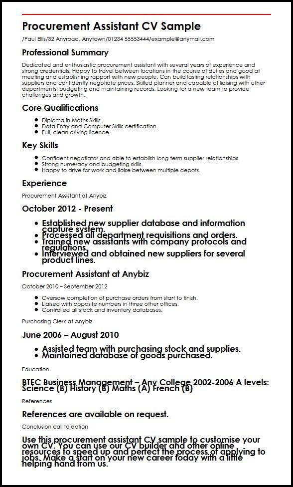 Procurement Assistant CV Sample MyperfectCV