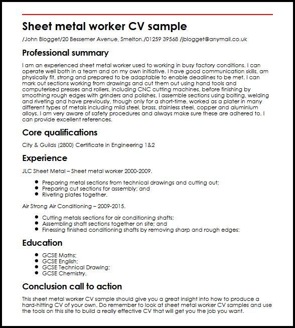 Sheet metal worker CV sample| MyperfectCV