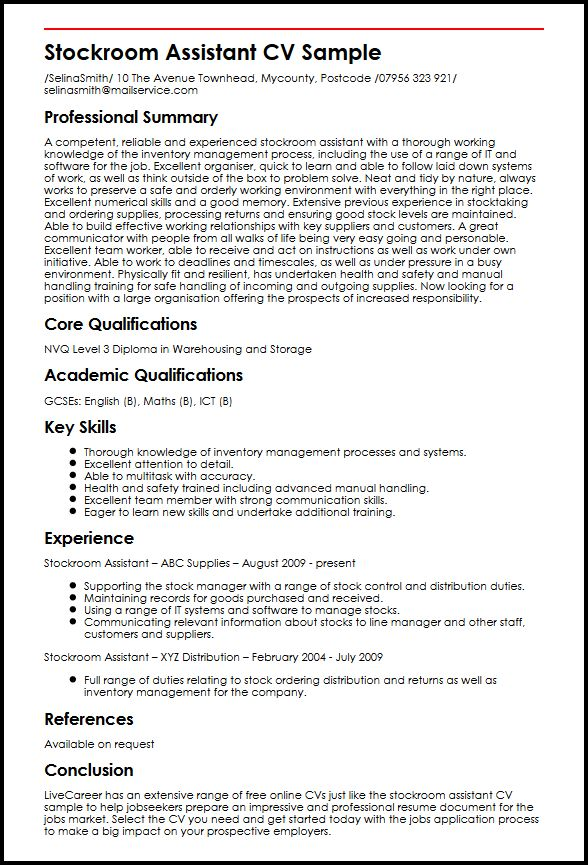 Stockroom Assistant CV Sample | MyperfectCV