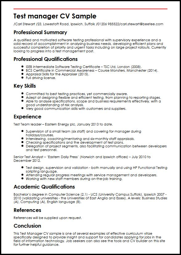 Test Manager CV Sample MyperfectCV