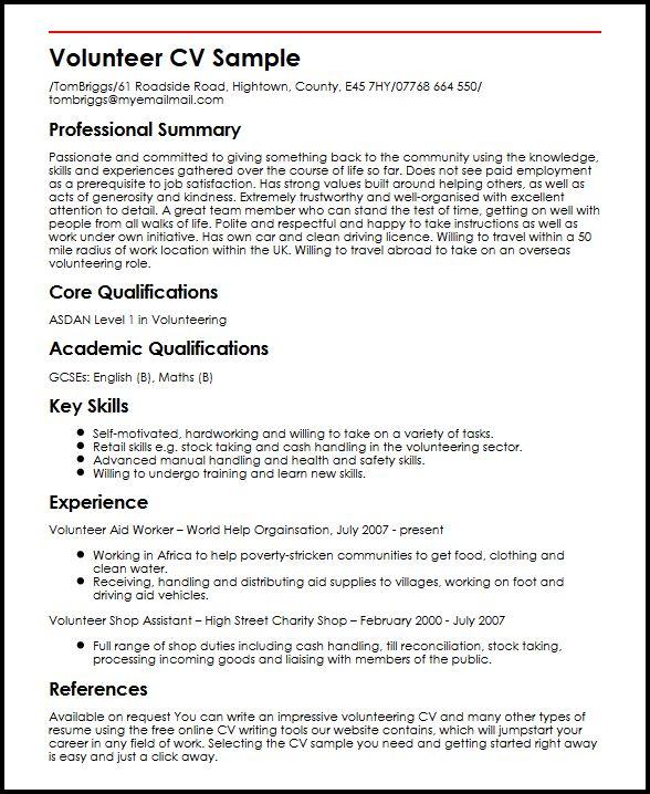 Volunteer CV Sample MyperfectCV