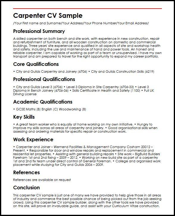 Carpenter CV Sample | MyperfectCV