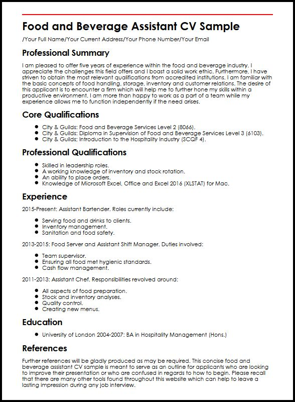 Food And Beverage Assistant CV Sample MyperfectCV