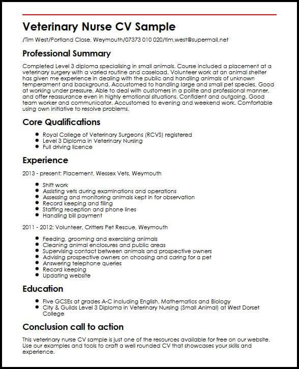 Vet Assistant Resumes: Equine Veterinary Nurse Sample Resume