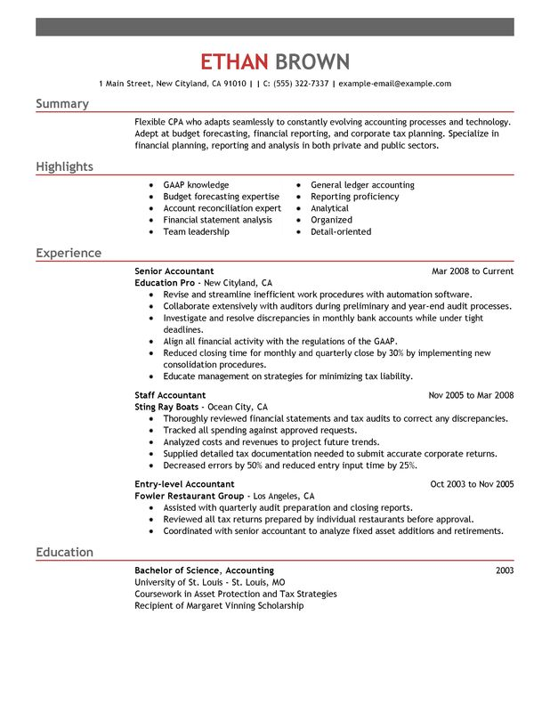 Resume template accountant resume sample unforgettable accountant resume examples to stand out yelopaper Images