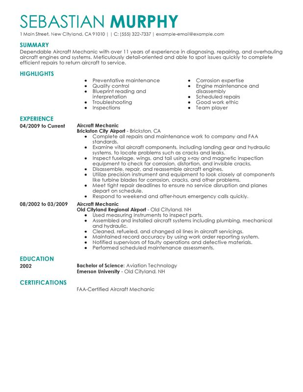 Unforgettable Aircraft Mechanic Resume Examples To Stand Out