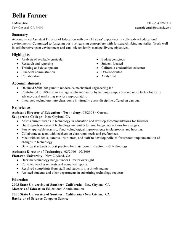 Unforgettable Assistant Director Resume Examples To Stand Out