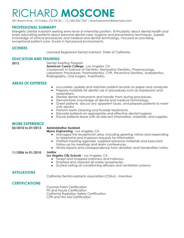 Dental Assistant Resume Example  Examples Of Resumes