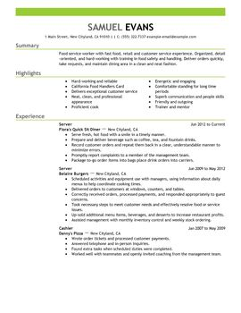 resume examples for food service