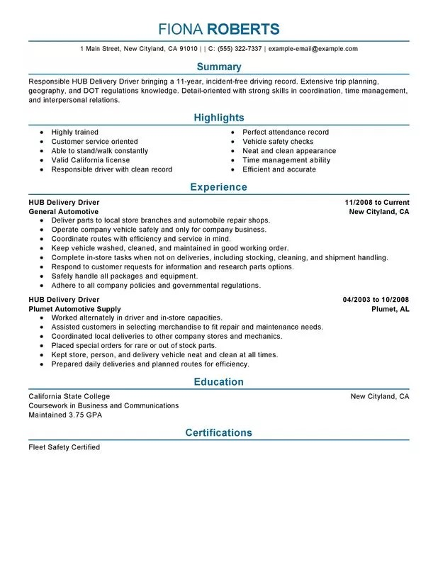 Unforgettable HUB Delivery Driver Resume Examples To Stand Out