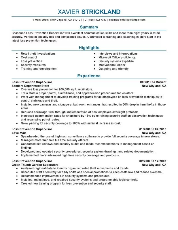 Unforgettable Loss Prevention Supervisor Resume Examples To Stand