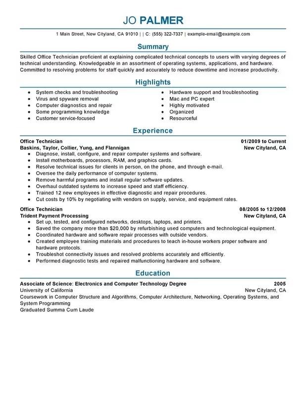 computer repair resume