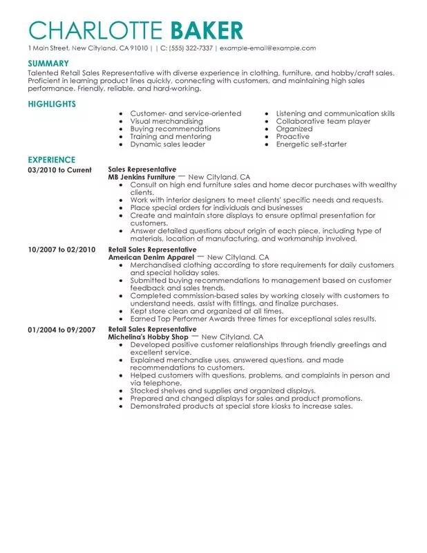 Resume Retail Sample Unforgettable Customer Service