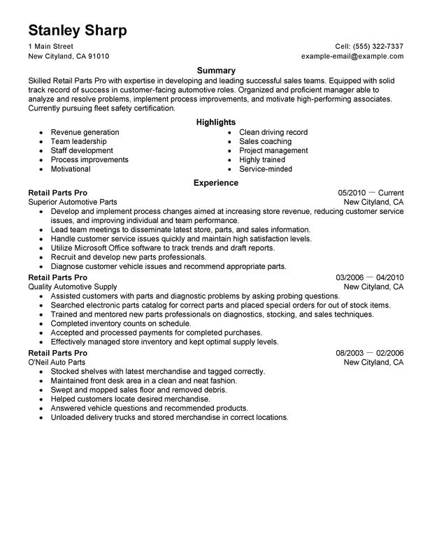 Unforgettable Retail Parts Pro Resume Examples To Stand Out