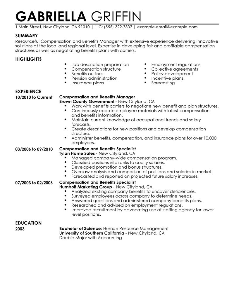 Sample Federal Human Resources Specialist Resume Job Application