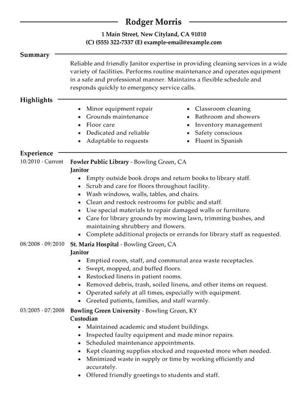 Janitorial Resume Professional Janitor Resume Sample Resume