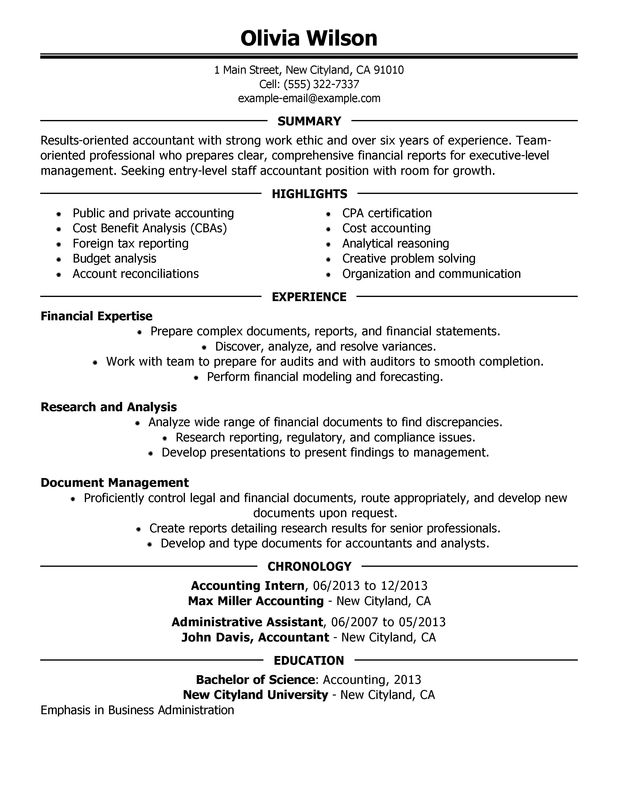 Accounting Resume Summary Statement Examples