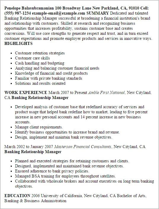 Resume Examples For Banking Managers Sample Customer Service Resume