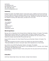 Tile Installer Resume - Annecarolynbird