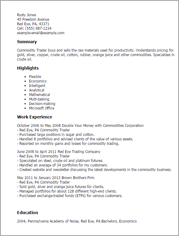 #1 Commodity Trader Resume Templates Try Them Now
