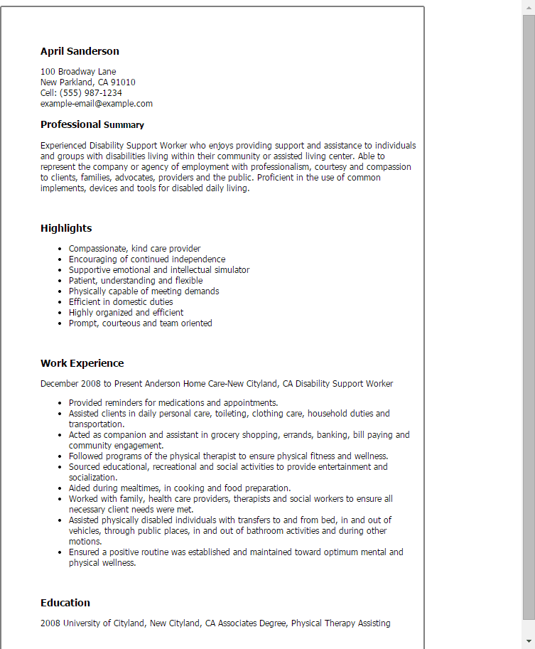 example cover letter for disability support worker cover letter