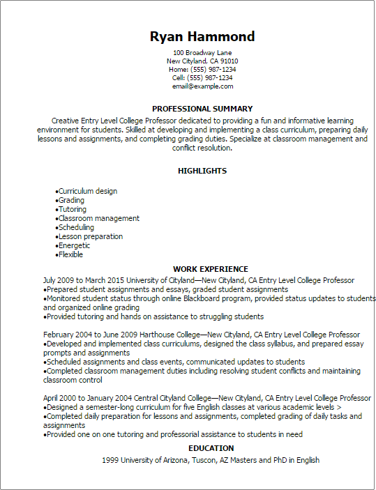 #1 Entry Level College Professor Resume Templates Try