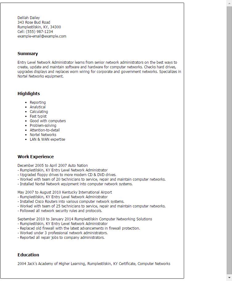 Network Administrator Responsibilities Resume Job Description Level Engineer Sample For Entry
